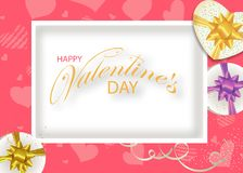 Valentines day pink background decorated hearts and white Boxes with bows. Design for posters, banners or cards. Vector. Illustration stock illustration
