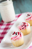 Valentines Day Pink Cupcakes With Glass of Milk Vertical Royalty Free Stock Photos