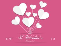 Valentines day pink greeting card, paper heart, vector. St. Valentines, February 14th greeting card with pink background, paper heart balloons vector royalty free illustration