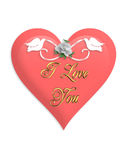 Valentines Day Pink Heart and Doves Royalty Free Stock Photo