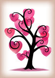 Valentines Day Pink Hearts Tree. Pink hearts as leaves on a curly, stylised tree Stock Photography