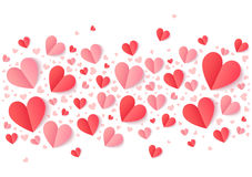 Valentines Day pink and red hearts line, vector holiday background Stock Images