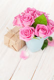 Valentines day pink roses bouquet and gift box Stock Images