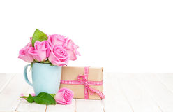 Valentines day pink roses bouquet and gift box Stock Photography