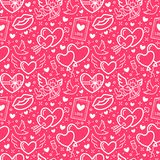 Valentines day pink seamless pattern. Love, romance flat line icons - hearts, chocolate, kiss, Cupid, doves, valentine. Card. Wallpaper for february 14 Stock Photography