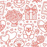 Valentines day pink seamless pattern. Love, romance flat line icons - hearts, chocolate, teddy bear, engagement ring