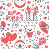 Valentines day pink seamless pattern. Love, romance flat line icons - hearts, chocolate, teddy bear, engagement ring. Balloons, valentine card, red rose Royalty Free Stock Images