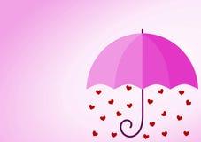 Valentines day pink umbrella love card Stock Photo