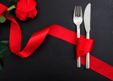Valentines day place setting on black background. Valentines day table setting on black background Stock Images