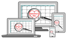 Valentines day on planner Royalty Free Stock Photos