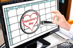 Valentines day on planner Royalty Free Stock Images