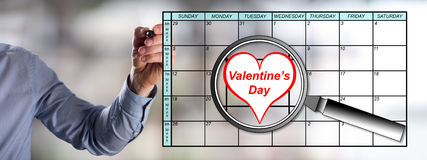 Valentines day on planner Royalty Free Stock Image