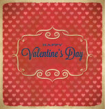 Valentines Day polka dot frame with hearts Royalty Free Stock Image