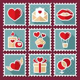 Valentines day postage stamps. Vector illustration, romance elements. Sticker, badge. Card for marriage and wedding Stock Images