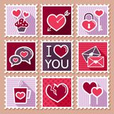 Valentines day postage stamps Royalty Free Stock Images