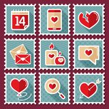 Valentines day postage stamps Royalty Free Stock Photo