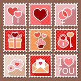 Valentines day postage stamps Stock Photos