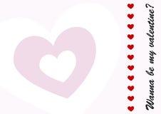 Valentines Day Postcard. Wanna be my valentine, valentine's day postcard Royalty Free Stock Image