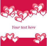 Valentines day postcard. With hearts on a red background Royalty Free Stock Photography