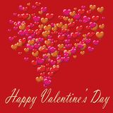 Valentines Day postcard balloons red background.  Royalty Free Stock Photos
