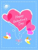 Valentines Day Postcard with Hearts and Birds. Happy Valentines day bright postcard with pink hearts on rope tied with ribbon and little birds cartoon flat Royalty Free Stock Image