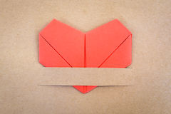 Valentines day postcard, paper red heart Stock Photo