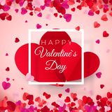Valentines day postcard. Two big hearts in white frame with text. Happy Valentines day. February 14 holiday. Vector illustration stock illustration