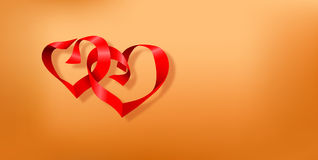 Valentines day postcard with two hearts made of red ribbons on smooth brown background Royalty Free Stock Image