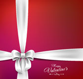 Valentines day postcard with white ribbon Royalty Free Stock Images
