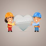 Valentines Day Poster with Couple Workers Royalty Free Stock Image