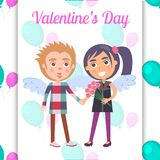 Valentines Day Poster First Date Teenage Couple. Valentines day poster with first date teenage couple in angel wings, boy presents flowers to girl, vector Stock Photos