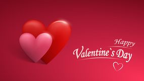 Valentines day poster with red and pink hearts background. Eps10 vector. stock illustration