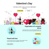 Valentines day posters and banners in flat style. Ornaments, hearts, ribbon. Vector holiday background Royalty Free Stock Image