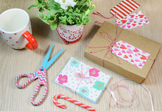 Valentines Day present box and handmade cards Stock Photography