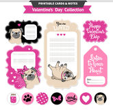Valentines day printable set wih funny pugs. Stock Images