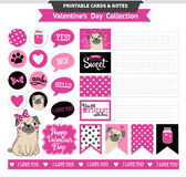 Valentines day printable set wih funny pugs. Royalty Free Stock Photos