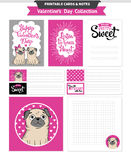 Valentines day printable set wih funny pugs. Royalty Free Stock Photo