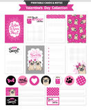 Valentines day printable set wih funny pugs. Royalty Free Stock Photography