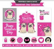 Valentines day printable set wih funny pugs. Stock Photo
