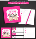 Valentines day printable set wih funny pugs. Stock Photo