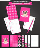 Valentines day printable set wih funny pugs. Stock Image