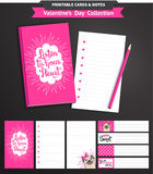 Valentines day printable set wih funny pugs. Stock Photography