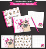Valentines day printable set wih funny pugs. Royalty Free Stock Images