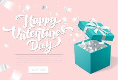 Valentines day Promo banner with Open Gift Box and silver Confetti. Happy valentines day. Turquoise jewelry box. Template for cosmetics jewelry shops Royalty Free Stock Images