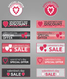 Valentines Day promo buttons, badges and banners. Valentine's Day discount and special offers vector buttons and banners Stock Image