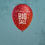 Valentines Day realistic holiday red Balloon. With big Sale Text, Hearts Pattern and Shadow on blue grunge Background. Vector Graphic Element for your Design Royalty Free Stock Photos