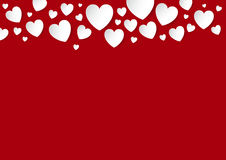 Valentines Day red background with copy space and faling white vector paper hearts. Love concept Stock Photography