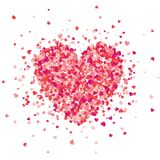 Valentines day red background with hearts. Love symbol. February 14. I love you. Be my valentine. Heart confetti. royalty free illustration