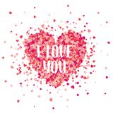 Valentines day red background with hearts. Love symbol. February 14. I love you. Be my valentine. Lettering, calligraphy stock illustration