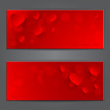 Valentines day red banner with paper hearts. Vecto Royalty Free Stock Photos